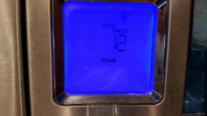 The oven will automatically set itself to 210 degrees in Steam Mode.